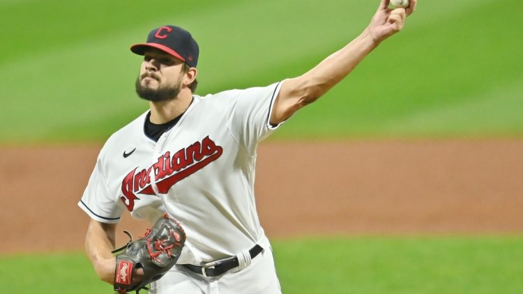 Sep 24, 2020; Cleveland, Ohio, USA; Cleveland Indians relief pitcher Brad Hand (33) throws a pitch against the Chicago White Sox during the ninth inning at Progressive Field. Mandatory Credit: Ken Blaze-USA TODAY Sports