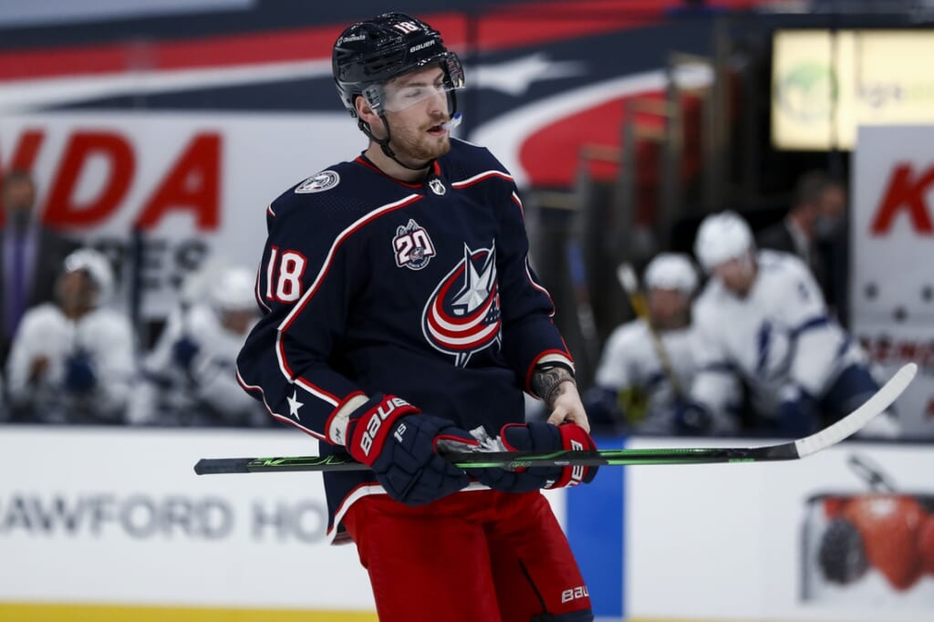 Jan 21, 2021; Columbus, Ohio, USA; Columbus Blue Jackets center Pierre-Luc Dubois (18) skates on the ice during a stop in play against the Tampa Bay Lightning at Nationwide Arena. Mandatory Credit: Aaron Doster-USA TODAY Sports