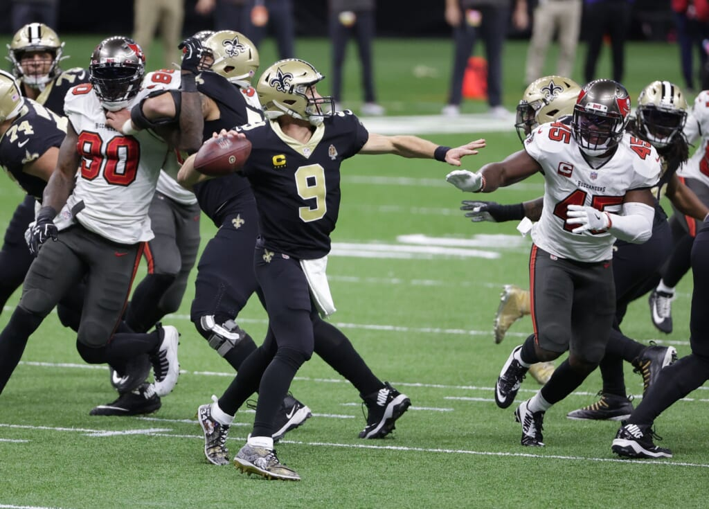 New Orleans Saints' Drew Brees against Tampa Bay Buccaneers