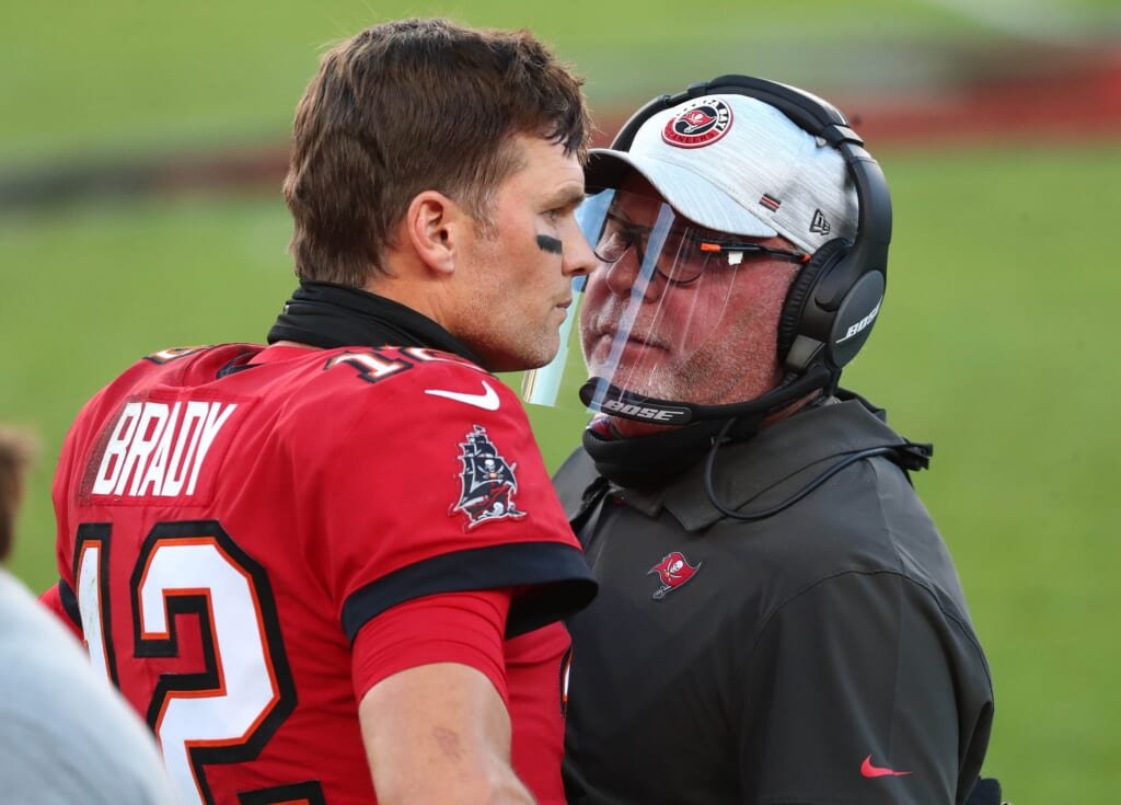 Buccaneers Bruce Arians with Tom Brady