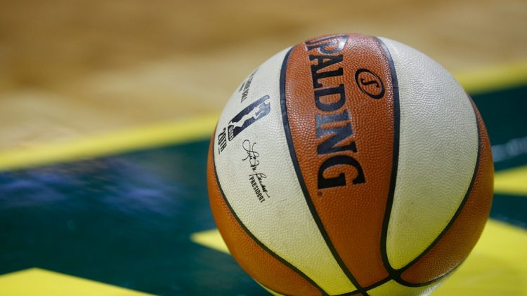 Sep 7, 2018; Seattle, WA, USA; The WNBA logo on a ball during the fourth quarter of game one of the WNBA finals between the Seattle Storm and the Washington Mystics at KeyArena. Mandatory Credit: Jennifer Buchanan-USA TODAY Sports