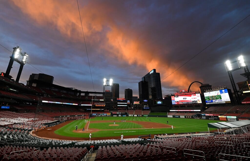 Aug 27, 2020; St. Louis, Missouri, USA;  A view of Busch Stadium as the sunsets during the sixth inning of a game between the St. Louis Cardinals and the Pittsburgh Pirates. Mandatory Credit: Jeff Curry-USA TODAY Sports
