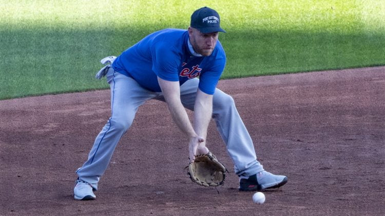 Sep 11, 2020; Buffalo, New York, USA; New York Mets third baseman Todd Frazier (33) takes infield practice prior to the game against the Toronto Blue Jays at Sahlen FIeld. Mandatory Credit: Gregory Fisher-USA TODAY Sports