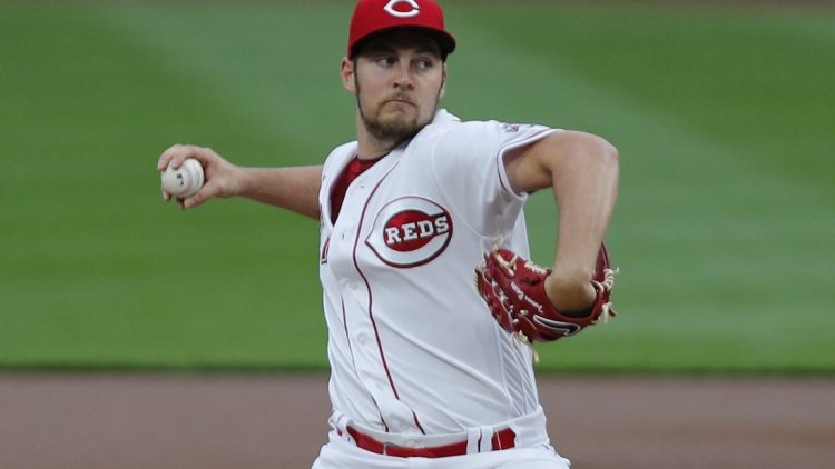 Sep 23, 2020; Cincinnati, Ohio, USA; Cincinnati Reds starting pitcher Trevor Bauer (27) throws against the Milwaukee Brewers during the first inning at Great American Ball Park. Mandatory Credit: David Kohl-USA TODAY Sports