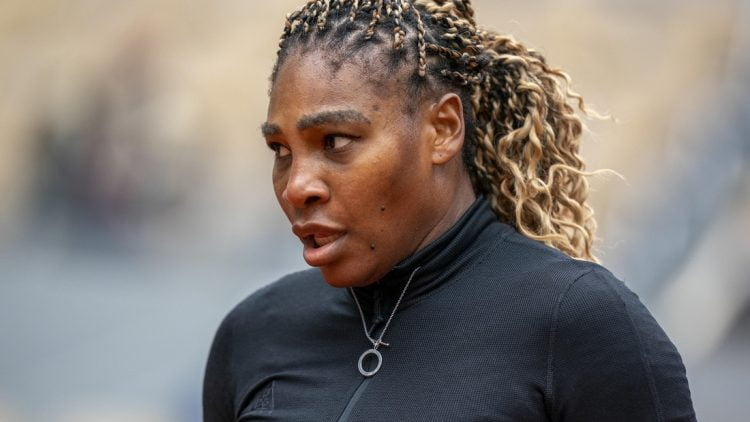 Sep 28, 2020; Paris, France; Serena Williams (USA) during her match against Kristie Ahn (USA) on day two of the 2020 French Open at Stade Roland Garros. Mandatory Credit: Susan Mullane-USA TODAY Sports