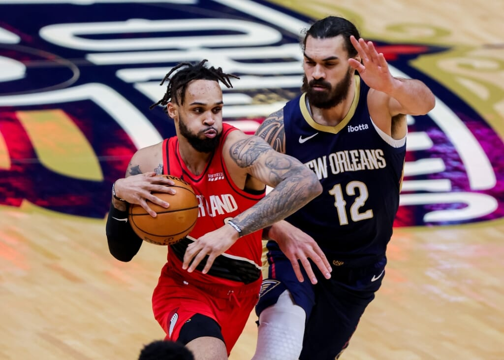 Feb 17, 2021; New Orleans, Louisiana, USA;  Portland Trail Blazers guard Gary Trent Jr. (2) moves to the basket against New Orleans Pelicans center Steven Adams (12)  during the first half at the Smoothie King Center. Mandatory Credit: Stephen Lew-USA TODAY Sports