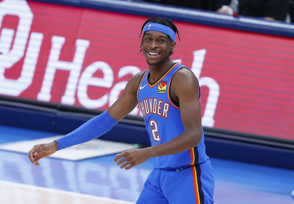 Feb 22, 2021; Oklahoma City, Oklahoma, USA; Oklahoma City Thunder guard Shai Gilgeous-Alexander (2) reacts after a shot against the Miami Heat during the first quarter at Chesapeake Energy Arena. Mandatory Credit: Alonzo Adams-USA TODAY Sports