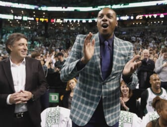 Feb 11, 2018; Boston, MA, USA; Former Boston Celtics forward Paul Pierce cheers as team owner Wyc Grousbeck  looks on during the first quarter against the Cleveland Cavaliers at TD Garden. Mandatory Credit: Winslow Townson-USA TODAY Sports