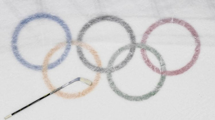 Feb 21, 2018; Gangneung, South Korea; View of a hockey stick on the logo during the game between Czech Republic and United States in the men's ice hockey quarterfinals during the Pyeongchang 2018 Olympic Winter Games at Gangneung Hockey Centre. Mandatory Credit: David E. Klutho-USA TODAY Sports