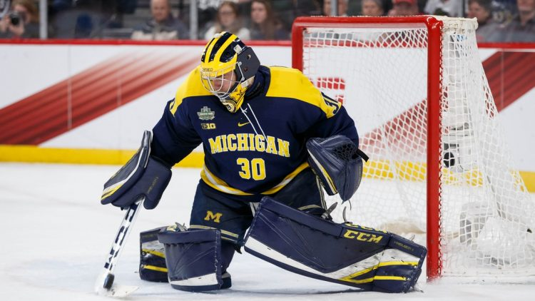 Apr 5, 2018; St. Paul, MN, USA; Michigan Wolverines goaltender Hayden Lavigne (30) makes a save in the second period against Notre Dame Fighting Irish in the 2018 Frozen Four college hockey national semifinals at Xcel Energy Center. Mandatory Credit: Brad Rempel-USA TODAY Sports