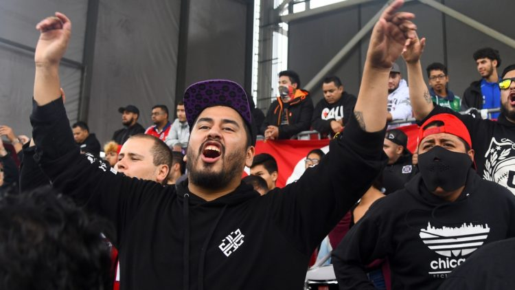 Sep 29, 2019; Chicago, IL, USA; Chicago Fire fans react before a game against the Toronto FC at SeatGeek Stadium. Mandatory Credit: Mike DiNovo-USA TODAY Sports