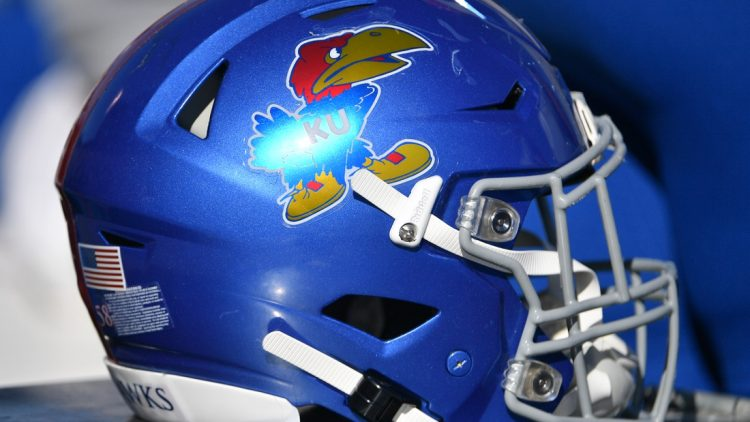 Nov 2, 2019; Lawrence, KS, USA; A general view of a Kansas Jayhawks helmet during the game against the Kansas State Wildcats at David Booth Kansas Memorial Stadium. Mandatory Credit: Denny Medley-USA TODAY Sports