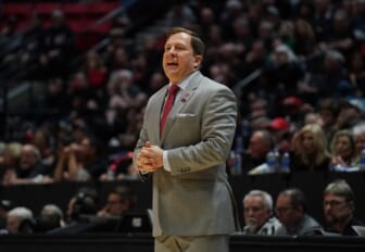 Feb 22, 2020; San Diego, California, USA; UNLV Rebels head coach T.J. Otzelberger reacts in the second half against the San Diego State Aztecs at Viejas Arena. UNLV won 66-63. Mandatory Credit: Kirby Lee-USA TODAY Sports