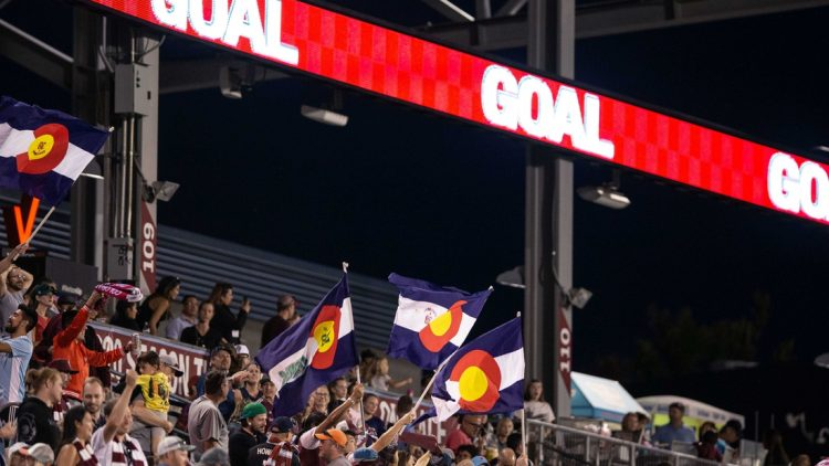 Sep 29, 2019; Commerce City, CO, USA; Colorado Rapids fans celebrate after a goal in the second half against FC Dallas at Dick's Sporting Goods Park. Mandatory Credit: Isaiah J. Downing-USA TODAY Sports