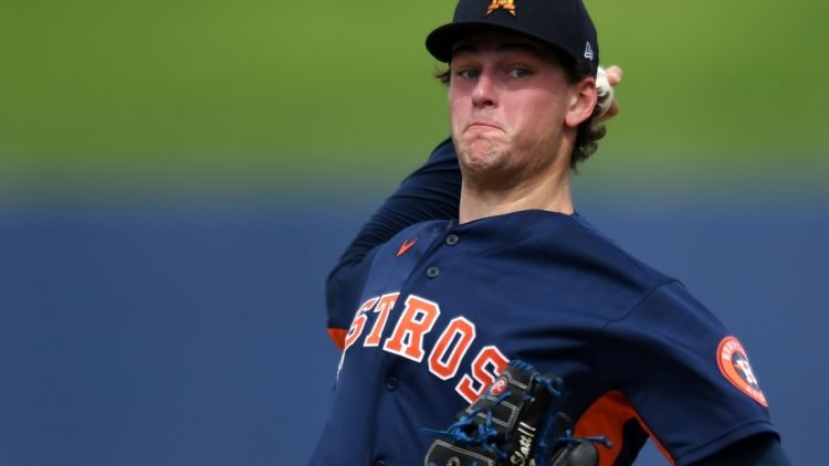 Feb 26, 2020; West Palm Beach, Florida, USA;  Houston Astros pitcher Forrest Whitley warms up before the fourth inning against the St. Louis Cardinals at FITTEAM Ballpark of the Palm Beaches. Mandatory Credit: Jim Rassol-USA TODAY Sports