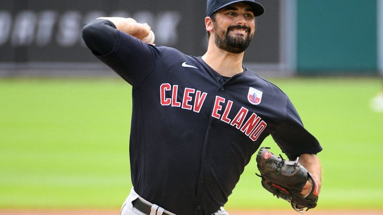 Aug 16, 2020; Detroit, Michigan, USA; Cleveland Indians starting pitcher Adam Plutko (45) pitches during the first inning against the Detroit Tigers at Comerica Park. Mandatory Credit: Tim Fuller-USA TODAY Sports