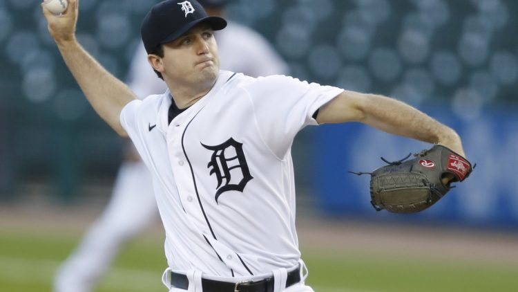 Sep 17, 2020; Detroit, Michigan, USA; Detroit Tigers starting pitcher Casey Mize (12) pitches during the first inning against the Cleveland Indians at Comerica Park. Mandatory Credit: Raj Mehta-USA TODAY Sports