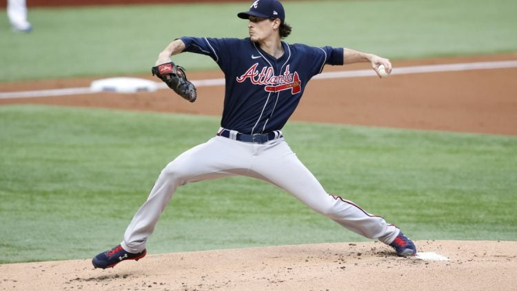 Oct 17, 2020; Arlington, Texas, USA; Atlanta Braves starting pitcher Max Fried (54) throws the ball during the first inning against the Los Angeles Dodgers during game six of the 2020 NLCS at Globe Life Field. Mandatory Credit: Tim Heitman-USA TODAY Sports
