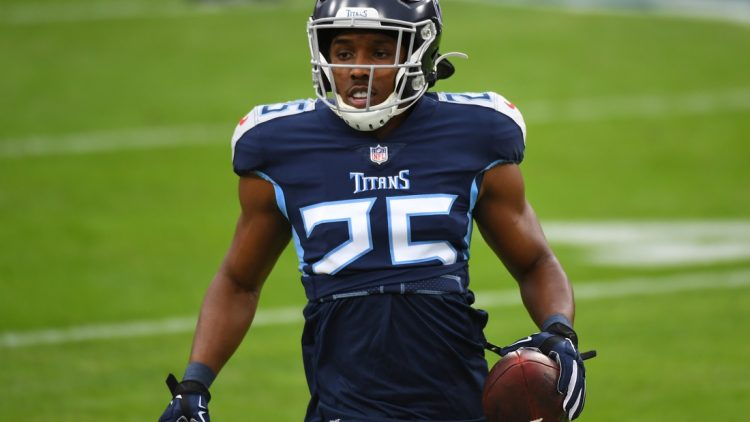 Dec 20, 2020; Nashville, Tennessee, USA; Tennessee Titans cornerback Adoree' Jackson (25) warms up before the game against the Detroit Lions at Nissan Stadium. Mandatory Credit: Christopher Hanewinckel-USA TODAY Sports