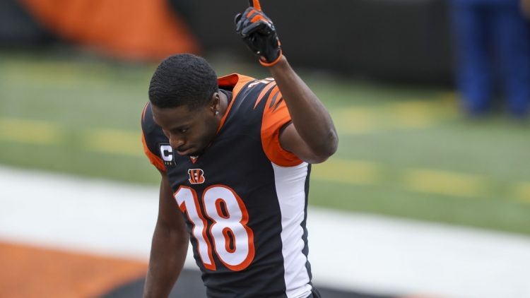 Jan 3, 2021; Cincinnati, Ohio, USA; Cincinnati Bengals wide receiver A.J. Green (18) reacts prior to the game against the Baltimore Ravens at Paul Brown Stadium. Mandatory Credit: Katie Stratman-USA TODAY Sports