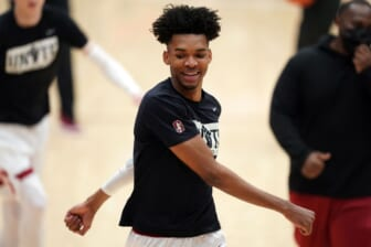 Feb 27, 2021; Stanford, California, USA; Stanford Cardinal forward Ziaire Williams (3) warms up before the game against the Oregon State Beavers at Maples Pavilion. Mandatory Credit: Darren Yamashita-USA TODAY Sports