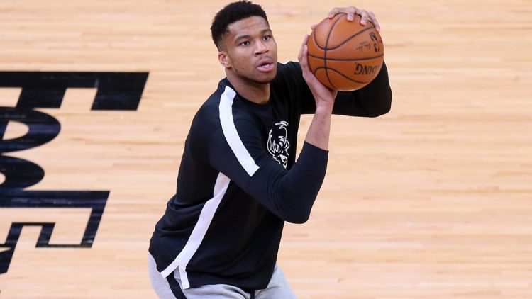 Mar 4, 2021; Memphis, Tennessee, USA; Milwaukee Bucks forward Giannis Antetokounmpo warms up prior to the game against the Memphis Grizzlies at FedExForum. Mandatory Credit: Nelson Chenault-USA TODAY Sports