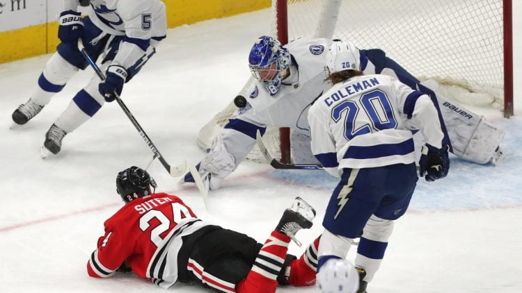 Mar 7, 2021; Chicago, Illinois, USA; Tampa Bay Lightning goaltender Andrei Vasilevskiy (88) makes a save on a shot from Chicago Blackhawks center Pius Suter (24) during the first period at the United Center. Mandatory Credit: Dennis Wierzbicki-USA TODAY Sports