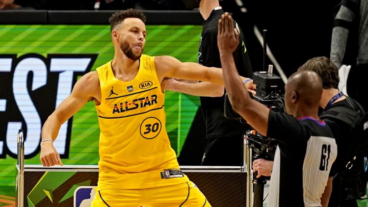 Mar 7, 2021; Atlanta, Georgia, USA;  Golden State Warriors guard Stephen Curry (30) celebrate after winning the NBA All-Star 3 Point Contest at State Farm Arena. Mandatory Credit: Dale Zanine-USA TODAY Sports