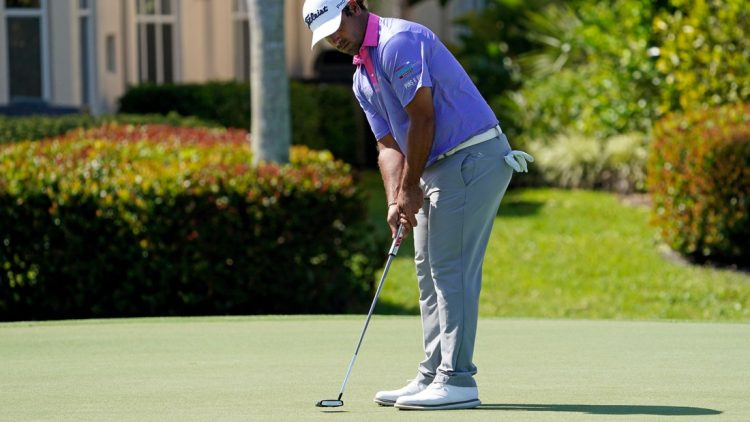Mar 19, 2021; Palm Beach Gardens, Florida, USA; Rafael Campos putts on the 17th green during the second round of The Honda Classic golf tournament at PGA National (Champion). Mandatory Credit: Jasen Vinlove-USA TODAY Sports