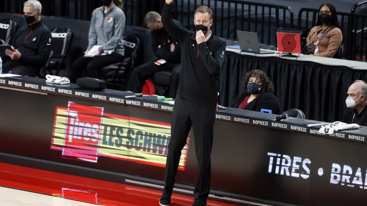 Mar 19, 2021; Portland, Oregon, USA; Portland Trail Blazers head coach Terry Stotts gestures from the sideline during the first half against the Dallas Mavericks at Moda Center. Mandatory Credit: Soobum Im-USA TODAY Sports
