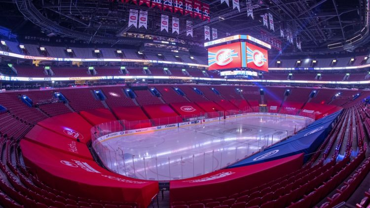 Mar 22, 2021; Montreal, Quebec, CAN; General view of the Bell Center as the Montreal Canadiens team announced that the game against Edmonton Oilers has been cancelled. Mandatory Credit: Jean-Yves Ahern-USA TODAY Sports