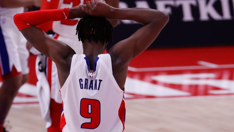 Mar 26, 2021; Detroit, Michigan, USA; Detroit Pistons forward Jerami Grant (9) reacts after the game against the Brooklyn Nets at Little Caesars Arena. Mandatory Credit: Rick Osentoski-USA TODAY Sports