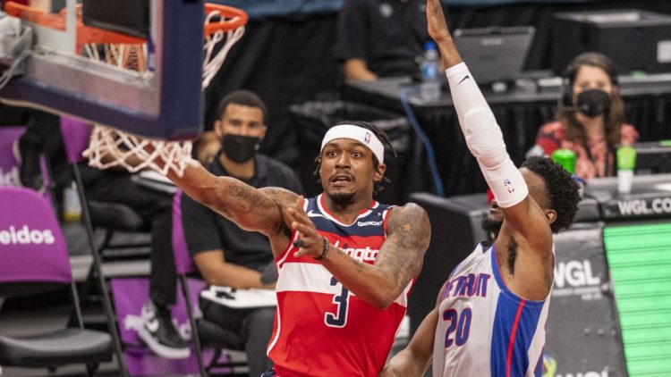 Mar 27, 2021; Washington, District of Columbia, USA;  Washington Wizards guard Bradley Beal (3) shoots as Detroit Pistons guard Josh Jackson (20) defends during the first half at Capital One Arena. Mandatory Credit: Tommy Gilligan-USA TODAY Sports