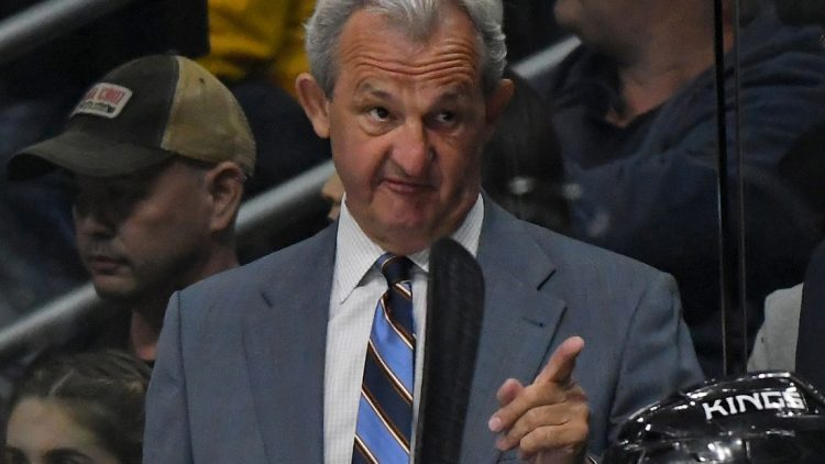 Apr 2, 2017; Los Angeles, CA, USA; Los Angeles Kings head coach Darryl Sutter makes a point in the first period of the game against the Arizona Coyotes at Staples Center. Mandatory Credit: Jayne Kamin-Oncea-USA TODAY Sports