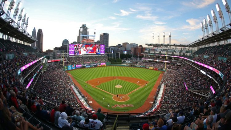 Jul 25, 2017; Cleveland, OH, USA; General view of Progressive Field before the game between the Cleveland Indians and Los Angeles Angels. Mandatory Credit: Charles LeClaire-USA TODAY Sports