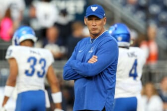 Sep 7, 2019; University Park, PA, USA; Buffalo Bulls head coach Lance Leipold looks on during a warm up prior to the game against the Penn State Nittany Lions at Beaver Stadium. Mandatory Credit: Matthew O'Haren-USA TODAY Sports
