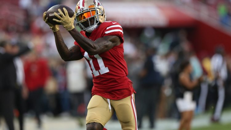 Nov 11, 2019; Santa Clara, CA, USA; San Francisco 49ers wide receiver Marquise Goodwin (11) catches a pass before the start of the game against the Seattle Seahawks at Levi's Stadium. Mandatory Credit: Cary Edmondson-USA TODAY Sports