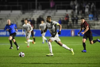 Dec 13, 2019; Cary, NC, USA; Georgetown Hoyas forward Derek Dodson (9) dribbles in the first half at WakeMed Soccer Park. Mandatory Credit: Bob Donnan-USA TODAY Sports