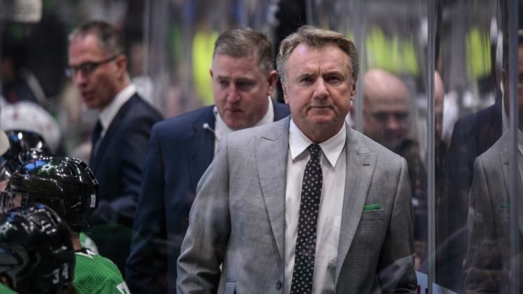Dec 10, 2019; Dallas, TX, USA; Dallas Stars interim head coach Rick Bowness during the game between the Devils and the Stars at the American Airlines Center. Mandatory Credit: Jerome Miron-USA TODAY Sports