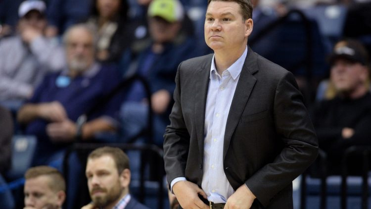 Jan 9, 2020; San Diego, California, USA; Gonzaga Bulldogs assistant coach Tommy Lloyd watches from the bench during the second half against the Gonzaga Bulldogs at Jenny Craig Pavilion. Mandatory Credit: Orlando Ramirez-USA TODAY Sports