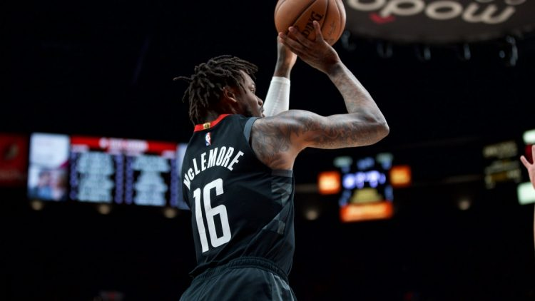 Jan 29, 2020; Portland, OR, USA; Houston Rockets guard Ben McLemore (16) shoots a three point basket against the Portland Trail Blazers during the first quarter at the Moda Center. Mandatory Credit: Craig Mitchelldyer-USA TODAY Sports