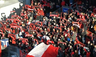 Mar 7, 2020; Toronto, Ontario, CAN;  Toronto FC fans hold up scarves during the national anthem before kickoff against the New York City at BMO Field. Mandatory Credit: Dan Hamilton-USA TODAY Sports