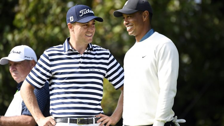 Sep 18, 2020; Mamaroneck, New York, USA; Justin Thomas and Tiger Woods talk on the 15th green during the second round of the U.S. Open golf tournament at Winged Foot Golf Club - West. Mandatory Credit: Danielle Parhizkaran-USA TODAY Sports