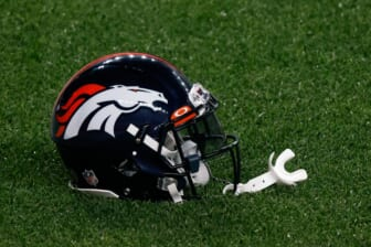 Sep 14, 2020; Denver, Colorado, USA; A Denver Broncos helmet on the ground before the game against the Tennessee Titans at Empower Field at Mile High. Mandatory Credit: Isaiah J. Downing-USA TODAY Sports