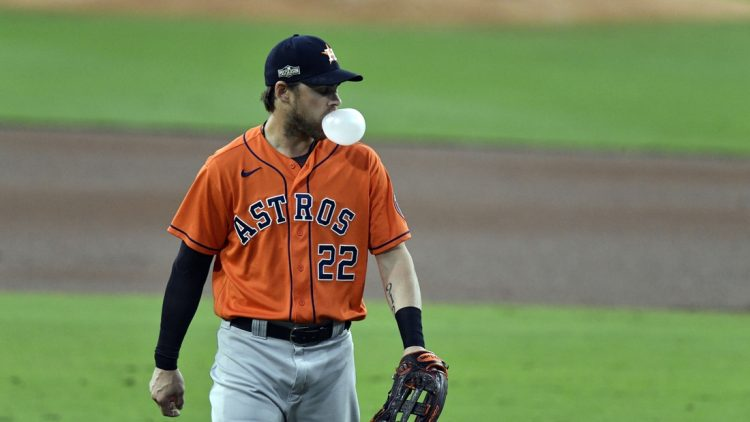 Oct 17, 2020; San Diego, California, USA; Houston Astros right fielder Josh Reddick (22) against the Tampa Bay Rays during the first inning in game seven of the 2020 ALCS at Petco Park. Mandatory Credit: Robert Hanashiro-USA TODAY Sports
