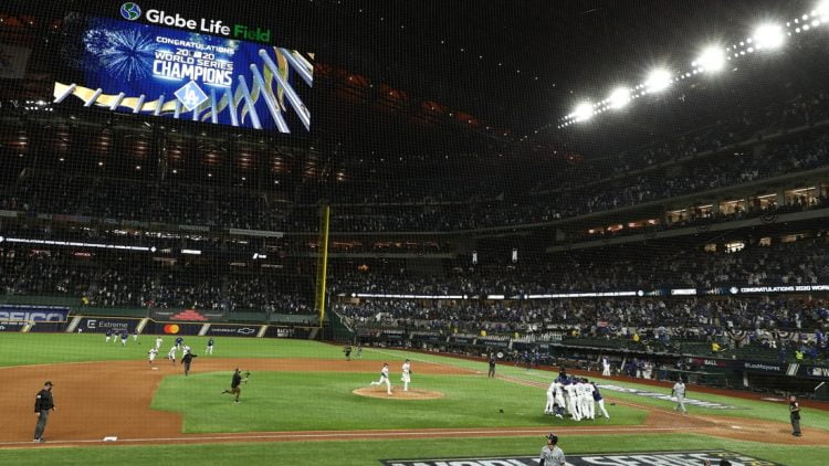 Oct 27, 2020; Arlington, Texas, USA; An overall view of the field as the Los Angeles Dodgers celebrate winning the World Series over the Tampa Bay Rays after game six of the 2020 World Series at Globe Life Field. Mandatory Credit: Kevin Jairaj-USA TODAY Sports