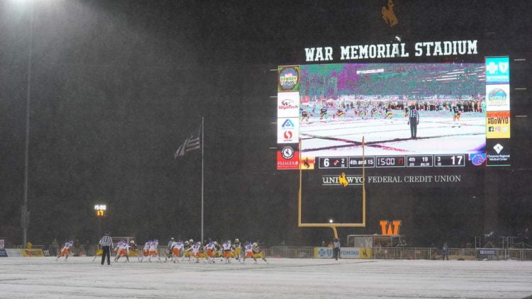 Dec 12, 2020; Laramie, Wyoming, USA; A general view of War Memorial Stadium during the Wyoming Cowboys against the Boise State Broncos during the fourth quarter at Jonah Field. Mandatory Credit: Troy Babbitt-USA TODAY Sports