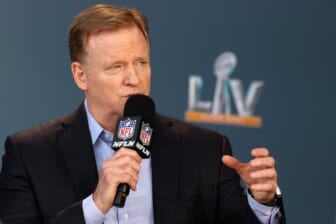 Feb 4, 2021; Tampa, FL, USA; NFL football commissioner Roger Goodell speaks at a press conference ahead of Super Bowl 55, Thursday, Feb. 4, 2021, in Tampa, Fla.  Mandatory Credit: Perry Knotts/Handout Photo via USA TODAY Sports