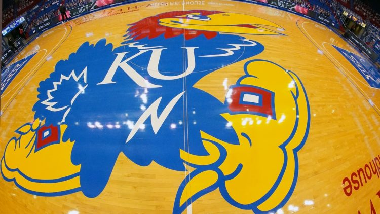 Feb 11, 2021; Lawrence, Kansas, USA; A general view of the Kansas Jayhawks center court logo at Allen Fieldhouse before a game against the Iowa State Cyclones. Mandatory Credit: Denny Medley-USA TODAY Sports
