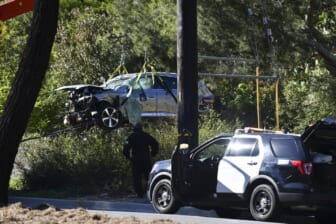 """Feb 23, 2021; Rancho Palos Verdes, CA, USA; The vehicle of Tiger Woods after he was involved in a rollover accident in Rancho Palos Verdes on February 23, 2021. Woods had to be extricated from the wreck with the """"jaws of life"""" by LA County firefighters, and is currently hospitalized. Mandatory Credit: Harrison Hill-USA TODAY"""